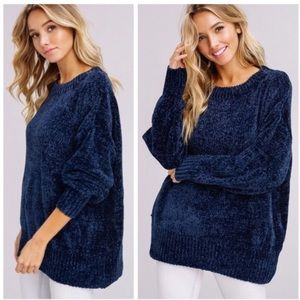 It's Here-Brooke Navy Blue Chenille Sweater